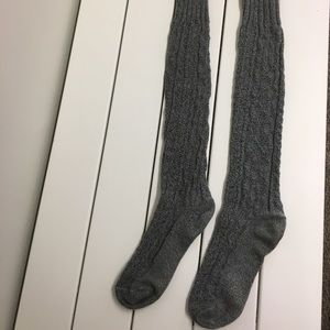 Peony and Moss marled thigh high charcoal socks.